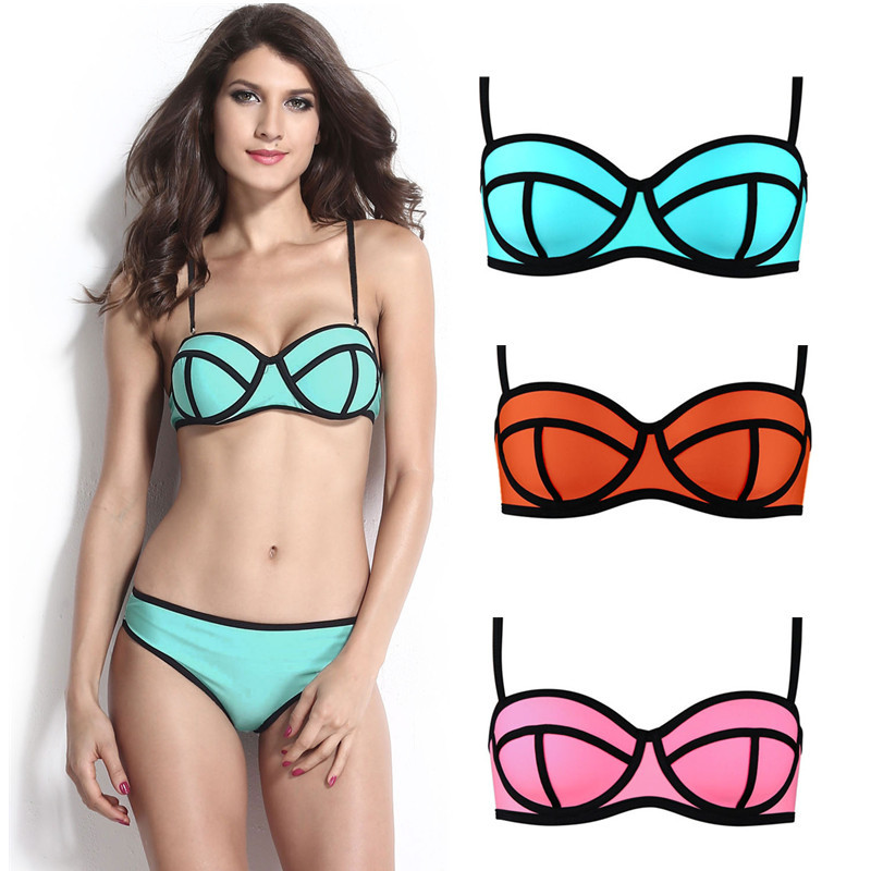 Solid Low Waist Swimsuit Pink Orange Blue Ribbon Textured Bikini Set Summer Beach Hot Women's Clothing(China (Mainland))