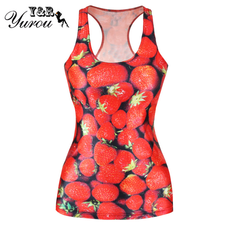 2015 Summer Strawberry 3D Digital Printed red Top Women Tank Tops Sexy women's clothing sleeveless Vest Tops Free Shipping(China (Mainland))