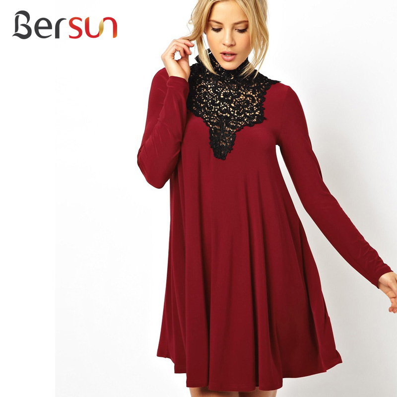 Bersun 2015 Autumn Winter Red Vintage Long Sleeve Loose Dress Lace Stitching Hollow High Collar Women's Elegant Dress(China (Mainland))