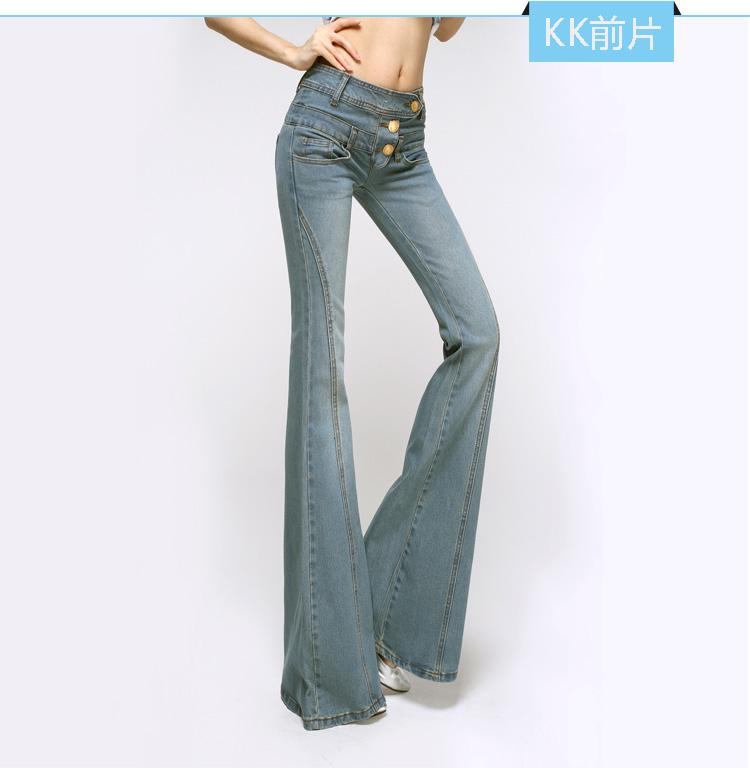 Скидки на 2016 Корейский Новая Мода Весна и Осень Джинсы для Женщин Плюс размер Тонкие Бедра Высокой Талией Flare Брюки Полная Длина Джинсы