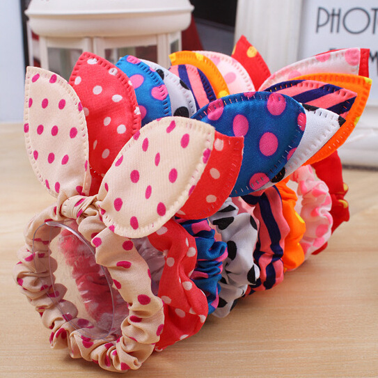 10Pcs/lot Hot Sale Fashion Girls Hair Band Mix Styles Polka Dot Bow Rabbit Ears Elastic Hair Rope Ponytail Holder Free Shipping(China (Mainland))