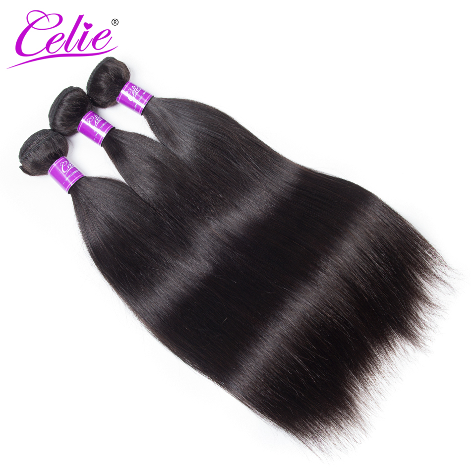 Celie Indian Straight Hair 8-28Inch Remy Hair Weave Bundles Natural Black Color Human Hair Extensions(China (Mainland))