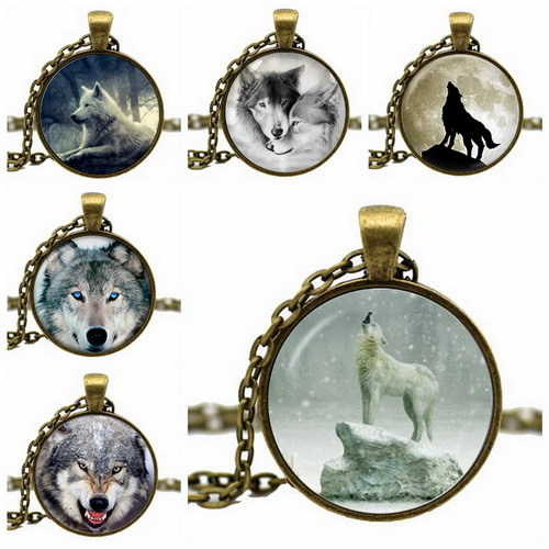 Гаджет  Fashion Glass Cabochon Wolf Acrylic Pendant Chain Dome Necklace Art Picture Vintage Jewelry Gift Statement Necklace For Women None Ювелирные изделия и часы
