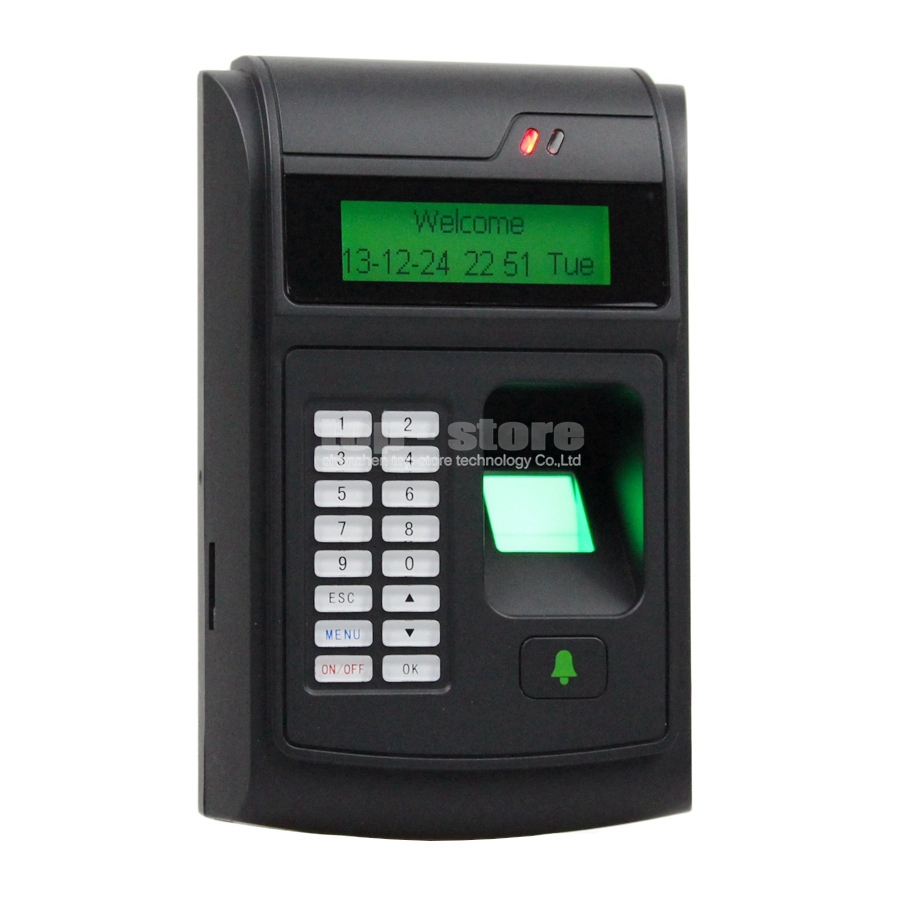 LCD Biometric Fingerprint PIN Code Door Lock Access Control + 125KHz RFID ID Card Reader Keypad USB / Door Bell Button(China (Mainland))