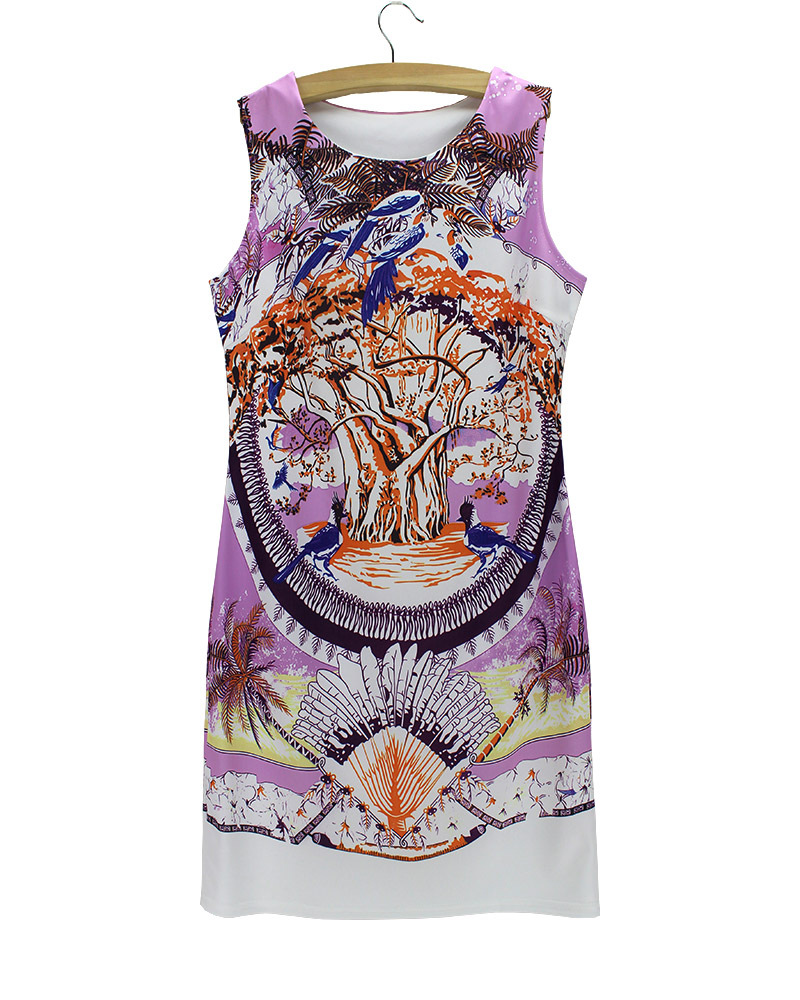 tree job promotion shop for promotional tree job on aliexpress com vintage sleeveless roupa feminina purple elegant women casual dress tree birds feather fan cheap two sides print vestido festa