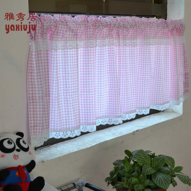 Free Shipping Cotton Twill Lace Pink Plaid Country Rustic Semishade Curtain Kitchen Curtains
