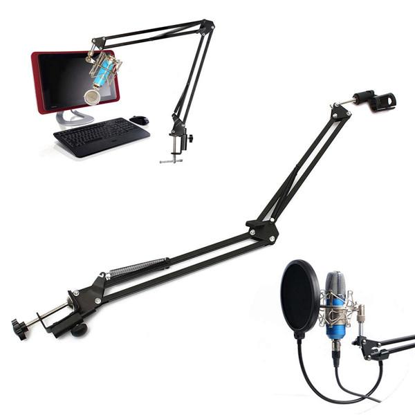 Pro Mic Stand Microphone Scissor Arm Suspension Boom Mount