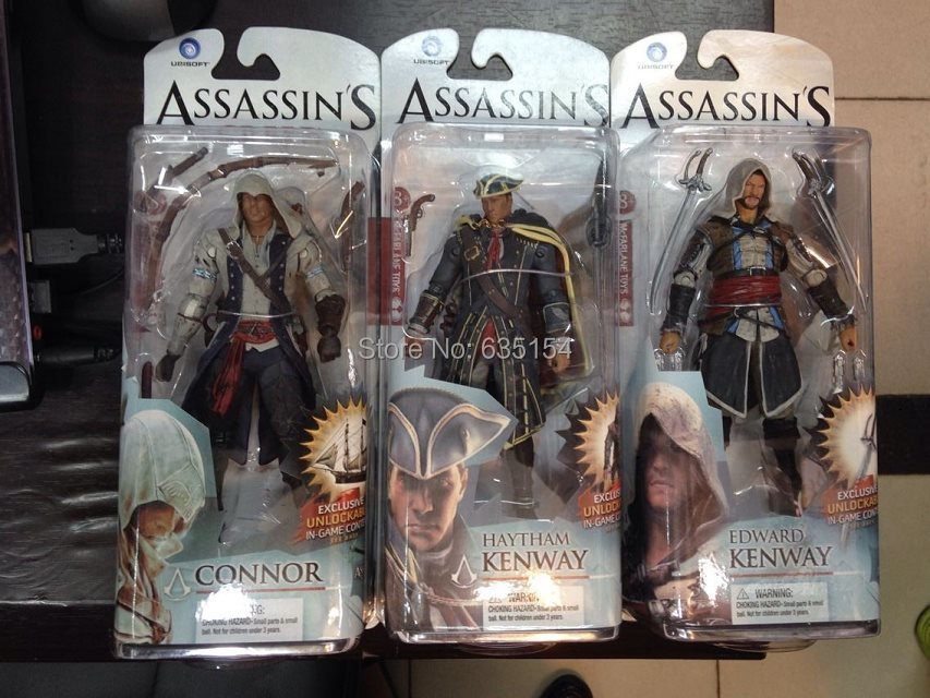 Wholesale 5pcs/pack Assassin's Creed:Black Flag CONNOR/HAYTHAM KENWAY/EDWARD KENWAY 15cm PVC Game Action Figure Model Toy