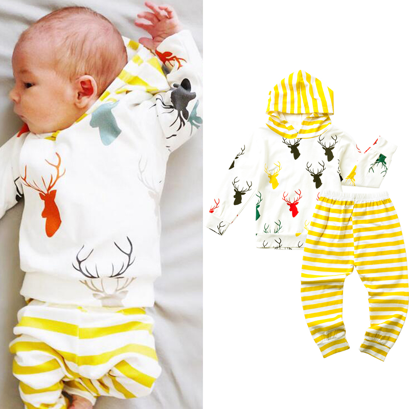 Baby Christening Fashion Baby Boy Clothes Cotton Cartoon Hooded T-shirt+ stripe Pants Clothes 2pcs Suit Baby Boy Clothing Sets()