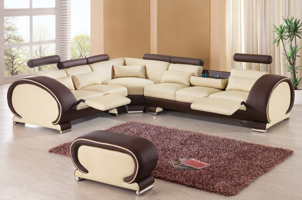 2015 Designer Modern Top Graded Cow Recliner Leather Sofa Set Living Room Sof