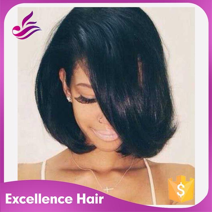 Фотография Straight Bob Wigs For Black Women Human Hair Wigs 130% Density Brazilian Virgin Short Hair U Part Bob Wig Middle Left Right Side