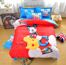 100% cotton Bedding set cartoon Mouse Printing bedclothes Baby children kids bed linen king queen twin full duvet cover set(China (Mainland))