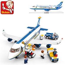 Nueva Original Sluban B0366 azul avión Airbus modelo bloques de construcción 483 unids/set educación de bricolaje ladrillos juguetes compatibles con Lego