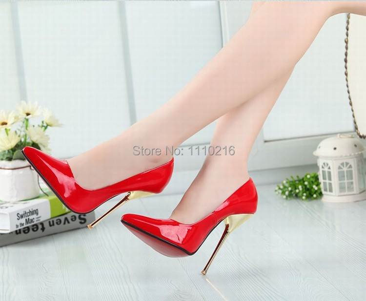 patent leather 2016 hot fashion sexy pointed toe high heels women party wedding pumps large size high heeled single shoes 35-46