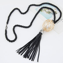 Korean Long Link Tassel Necklace For Women Jewelry Bijoux Simulated Pearl Ball Jewellery Necklaces & Pendants Sweater Necklaces