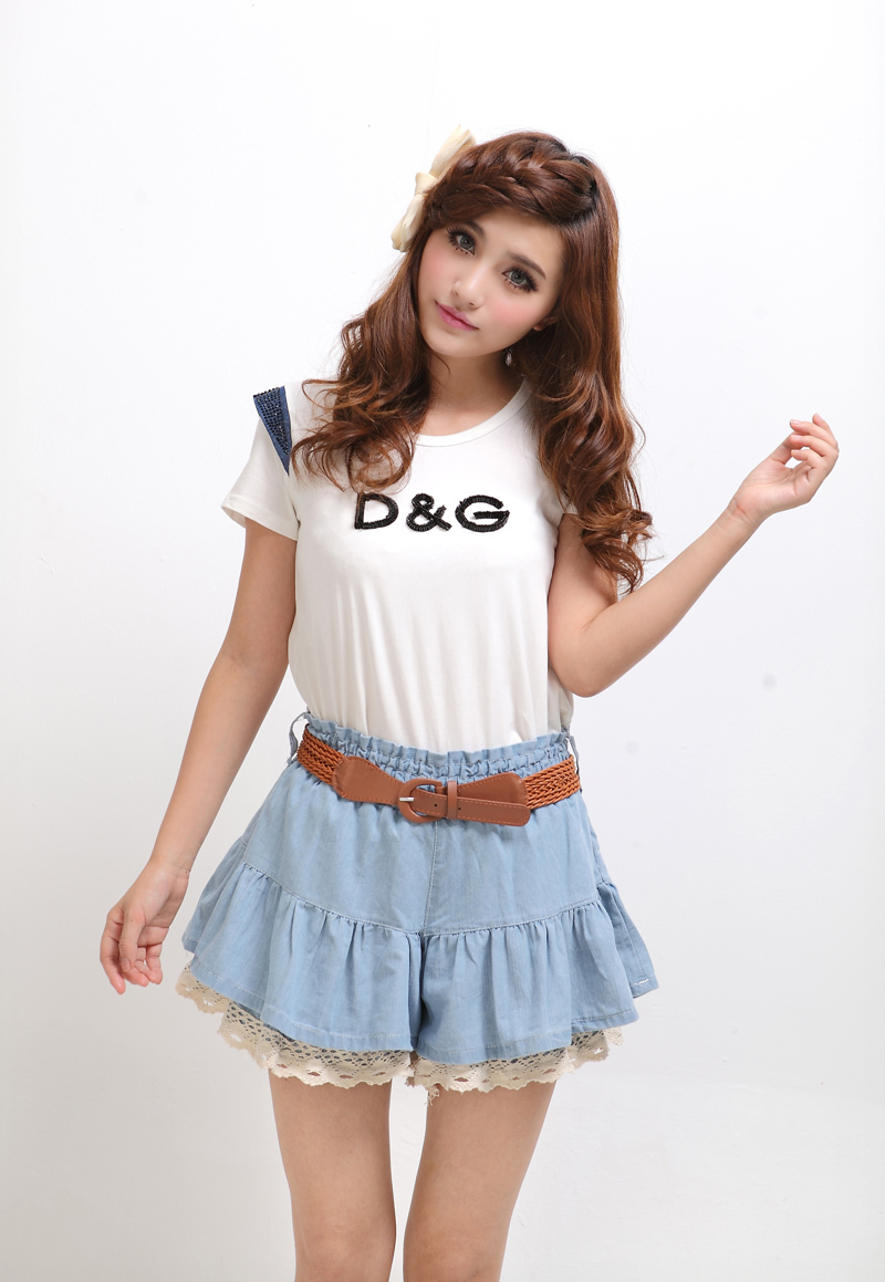 2013 lace decoration denim skirt pants shorts short skirt skorts female culottes(China (Mainland))