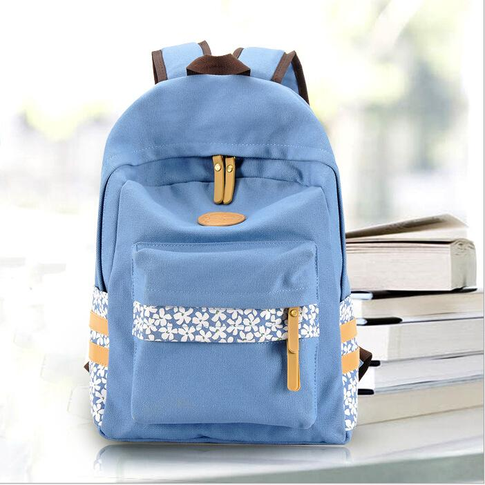 2015 High Quility school bag for girls and teeanger Fresh canvas print floral backpack women backpack(China (Mainland))