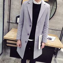 2015 HOT Fashion New Long Men's Trench Coat Turn-down Collar Winter Overcoat Casual Solid Men Long Wool jacket Men Coat MCT32(China (Mainland))