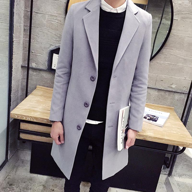 2015 HOT Fashion New Long Men's Trench Coat Turn-down Collar Winter Overcoat Casual Solid Men Long Wool jacket Men Coat MCT32(China (Mainland))
