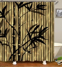 Zen shower curtains bathroom curtain Home Decor Green Yellow Zen Garden Theme Bamboo Waterproof show curtain(China)