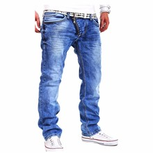 2016 New Brand Men's Jeans Korean Style Jeans Men Top Quality Jeans Homme Casual Loose Jeans Zipper Front Plus Size 32-36(China (Mainland))