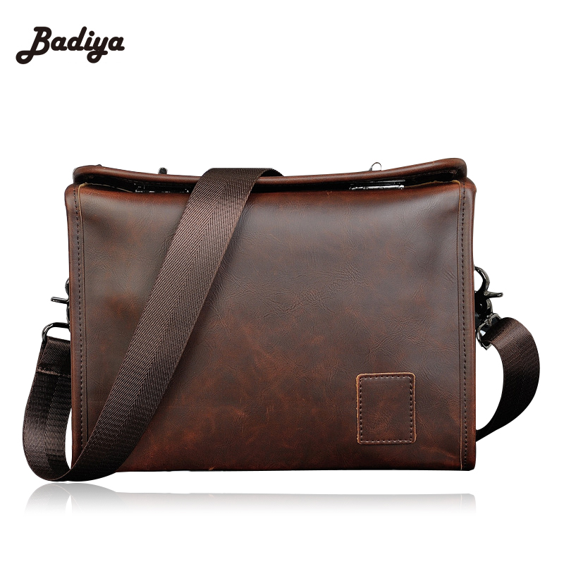 2016 New Leather Men Bag Crazy Horse Leather Men's Handbags Casual Business Laptop Shoulder Bags Briefcase Messenger bag(China (Mainland))
