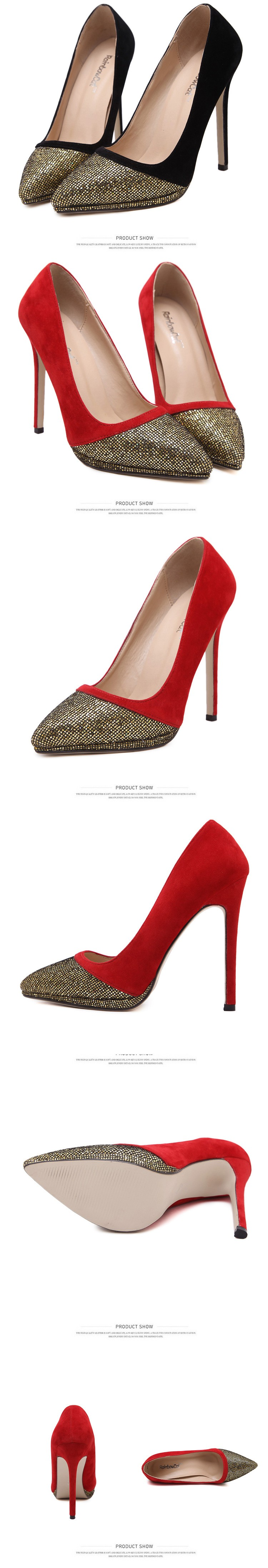 2016 New Fashion Women Pumps Sequined Thin High Heel Pumps Shoes For Women Pointed Toe Sexy Party Wedding Woman Shoes ZX2.5