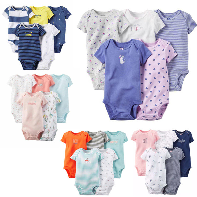 Short Sleeved Baby Bodysuits 5 Pieces/lot Baby Boys Girls Cotton Clothes Suit Triangle Jumpsuit Clothes 2016 Summer V49(China (Mainland))