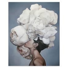 Bunga Bulu Wanita Abstrak Kanvas Lukisan Dinding Seni Cetak Poster Gambar Dekoratif Lukisan Ruang Tamu Dekorasi Rumah(China)