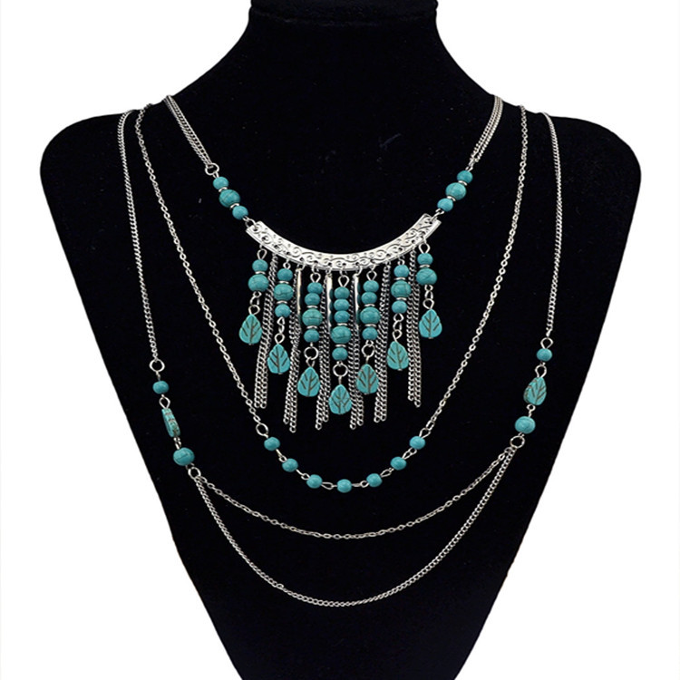 2016 vintage Statement Multilayer chain necklace fine jewelry fashion collar Turquoise long Tassel ethnic maxi necklace women(China (Mainland))