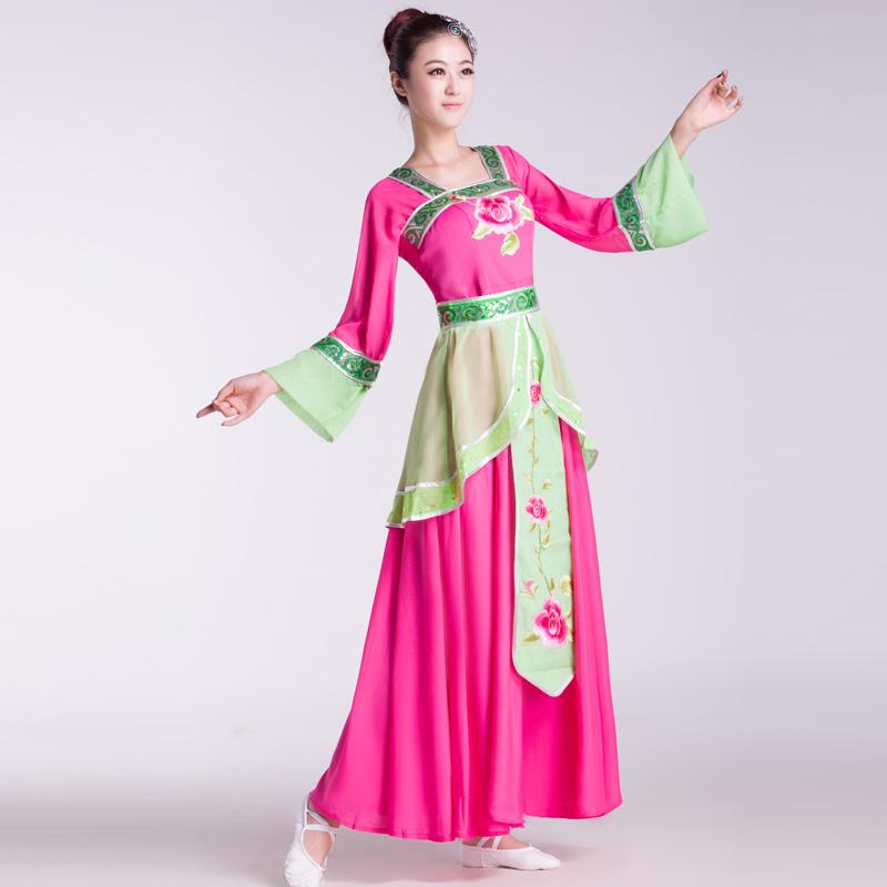 Women's classical dance fan performance wear lady classical round fan dance costume