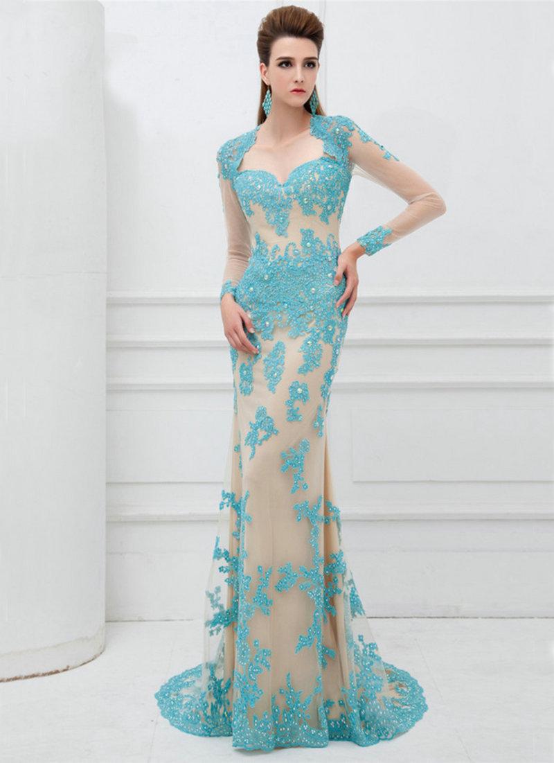 پیراهن لمه کوتاه Wholesale mermaid prom dress 2016 sexy sweetheart neck open back elegant appliques lace long sleeve party dresses vestidos de fo