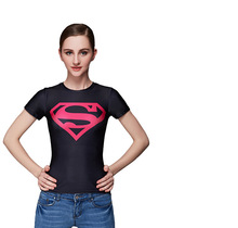 Superman women short sleeve t shirt compression fitness gym quick dry sports training jogging womens tops camisetas - franco pablo's store
