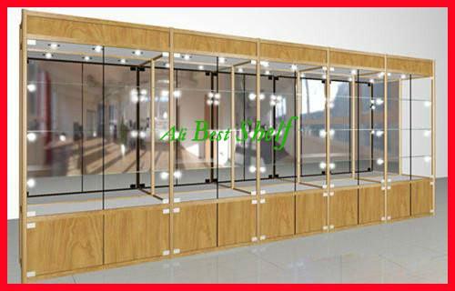 2014 vitrinekast hout kleur aluminium showcase met verlichting en opbergkast jpg