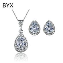 Water shape white gold plated wedding jewelry sets for women cz diamond earring+pendant fashion jewerly accessories YXSM019