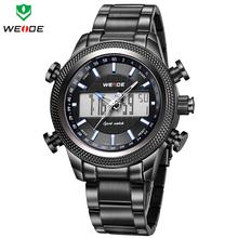 WEIDE Men Army Military Watch Analog Digital LED Quartz Sports Watches Full Steel Luxury Brand Fashion