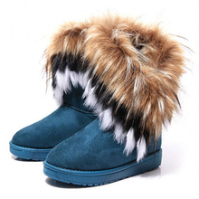 Fashion Fox Fur Warm Autumn Winter Wedges Snow Women Boots Shoes GenuineI Mitation Lady Short Boots Casual Long Snow Shoes(China (Mainland))