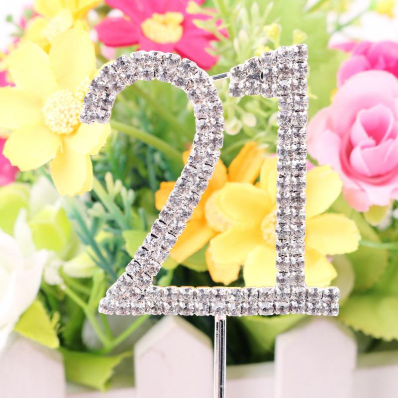 2016 Classic Crystal Rhinestone Cake Topper Number Age 60th 50 21 Birthday Anniversary Cross Decoration(China (Mainland))
