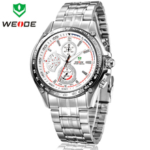Nuevos hombres de moda WEIDE reloj deportivo de acero lleno militar relojes del cuarzo de japón 30 M resistente al agua esfera redonda reloj de pulsera analógico buceo