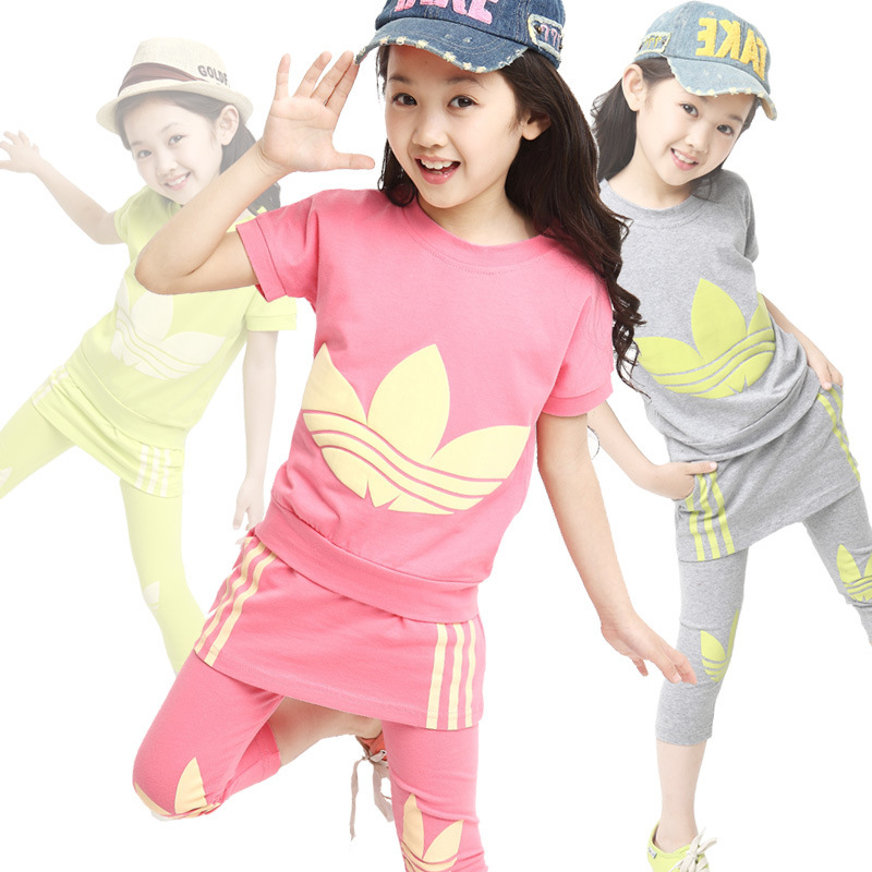 Girls Active Clothing Sets for Summer Children Clothing Cotton Set  2Pcs / Short Sleeve T-shirt &amp; Skirted Pants<br><br>Aliexpress