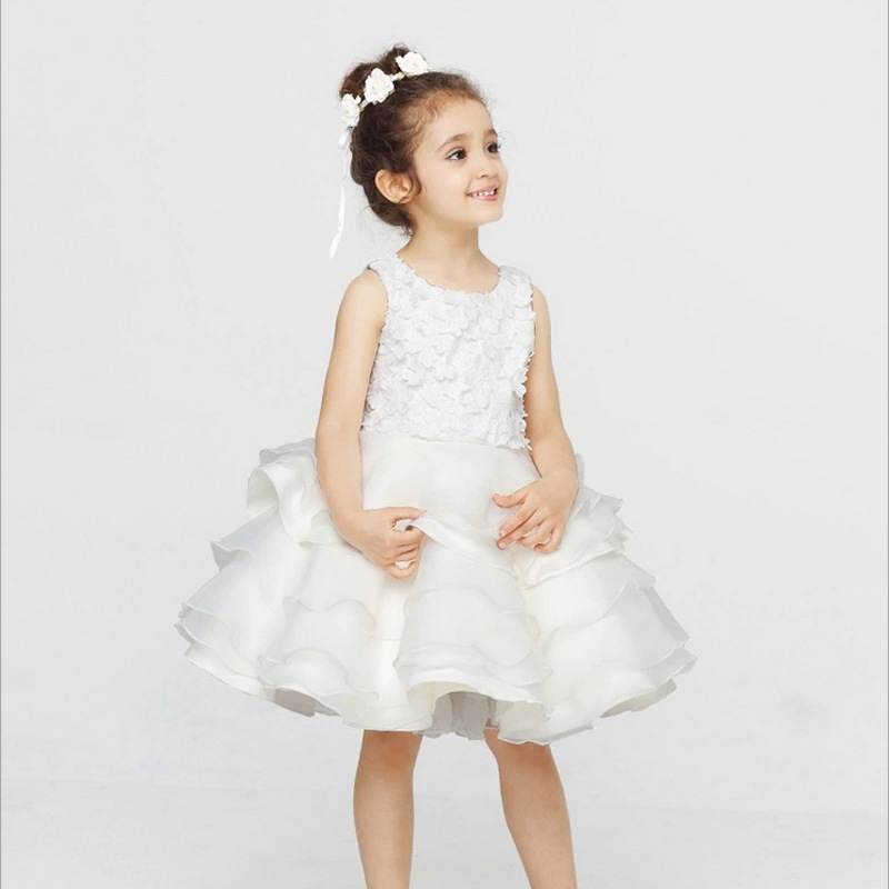 Baby infant to teenage girls white dress age size 1 2 3 4 5 6 7 8 9 10 11 12 years old wedding party formal wear