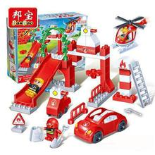Kids Toys Building Blocks helicopter Model Building toy Compatible big particles 53 pcs blocks fire administration