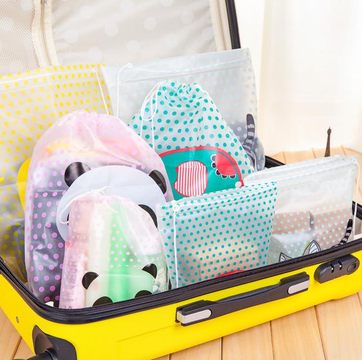 Kawaii Cartoon Animals Dots Waterproof Drawstring Storage Bag Travel Organizer Bag Drawstring Sorting Bag for Clothes(China (Mainland))