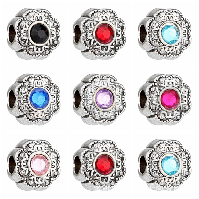 New European fashion bold silver crystal beads for DIY bracelet original jewelry gift for women 10 pieces / lot(China (Mainland))