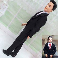 1 sets handmade clothes black bride suit with white shirt and pants for barbie boy firend for barbie doll ken(China (Mainland))