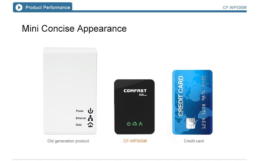 PLC powerline адаптер мини homeplug av comfast cf-wp500m 500mbps plc homeplug av мини-powerline адаптер
