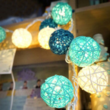 Battery Operated 20 Rattan Ball Light String Fairy Lamp Party Portable Outdoor Decoration(China (Mainland))