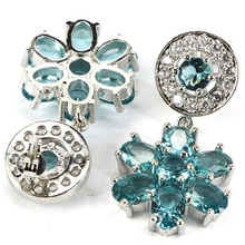Elegant Rich Blue Aquamarine, White CZ Ladies Wedding 925 Silver Earrings 34x16mm(China (Mainland))