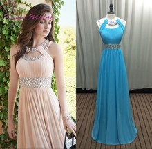 Hot Sale Prom Dresses 2016 Exquisite Beading Scoop A-line Chiffon Long Prom Dresses Pearl Pink/Blue Women Formal Dresses(China (Mainland))