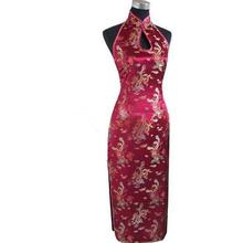 Buy Hot New Burgundy Chinese Traditional Women Dress Long Sexy Backless Qipao Silk Satin Cheongsam Top Size S M L XL XXL XXXL J3404 for $17.36 in AliExpress store
